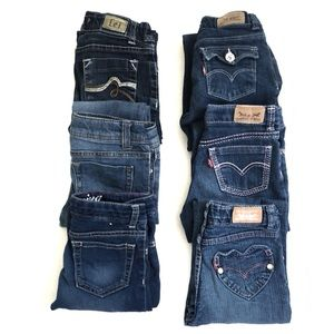 Girls lot of 6 pairs of jeans size 6
